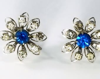 Bugbee & Niles B.N. Signed Vintage Earrings, Blue and Clear Rhinestones, Screw Back Earrings, B.N. Flower Earrings, Vintage Costume Jewelry
