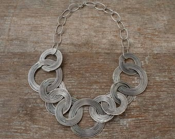 Avani Necklace, Handcrafted Hill tribe silver (98%) Swirls and Chain
