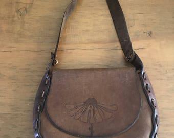 Brown Leather tooled handbag