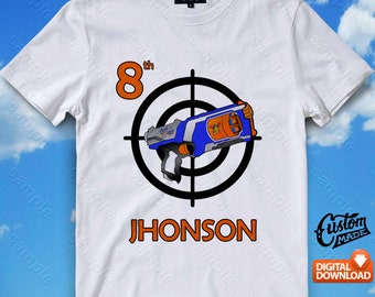 Nerf Iron On Transfer, Nerf Birthday Shirt DIY, Nerf Shirt Design, Nerf Printable, Nerf, Personalize, Digital Files