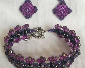 """Bracelet & Earrings """"Grape lollipop"""" A68"""