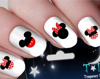 Disney nail art etsy disney nail decals polkadot mickey mouse minnie mouse heads nail art wraps water transfers nails decals prinsesfo Image collections