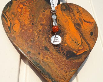 Orange and Black,Hearts 19cm,  Unique gift, Hanging Decoration, Abstract  Art, Live your dream,