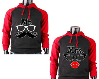Two Color Hoodies for Couple Sweater Mr.Tash & Mrs Lips Couple Matching Raglan Black- Gray Cotton Pullover Hooded Sweatshirt