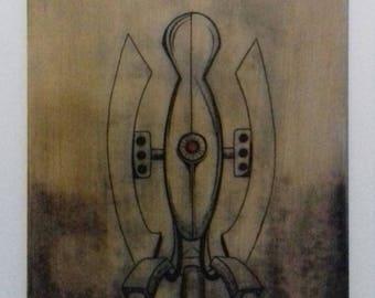 Portal Turret Wooden Engraving
