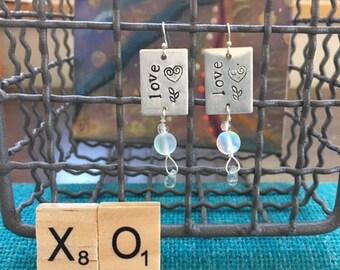 love earrings moonstone peridot stamped