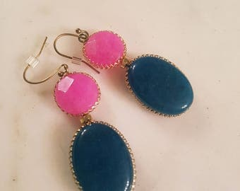 Navy and Pink stone earrings