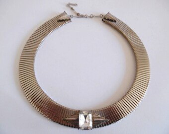 ERMANI BULATTI . Art Deco Chunky Necklace Silver Toned Collar Statement