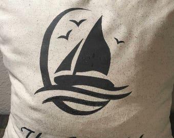 Coastal Pillow, Beach themed,Sail Boat Pillow