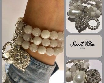 Natural stone bracelet, bracelet, white bracelet, made in Italy, bracelet, women's gift, bracelet with white tourmaline