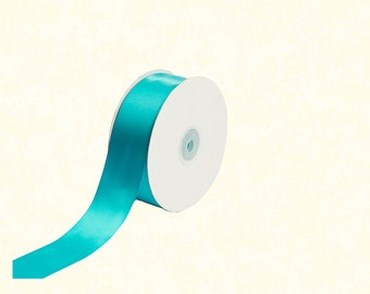 "25 Yards: 1.5"" Turquoise Satin Ribbon"