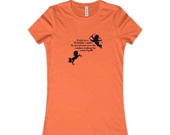 Funny Cute Humor Women Gift For Her Cupid Unicorn Rainbow Tee T-Shirt