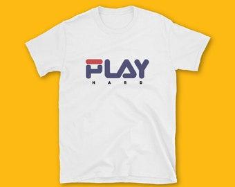 PLAY HARD Short-Sleeve Unisex T-Shirt, FILA Parody shirt, Fashion, unisex, couple tshirt
