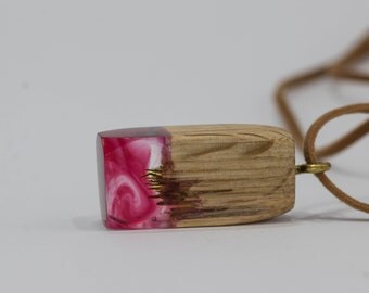RedRose wood and resin pendant