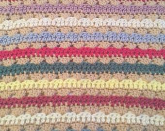 Crochet baby girl blanket/stripes/baby shower gift/baby blanket/