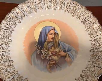 Virgin Mary Sacred Heart Plate