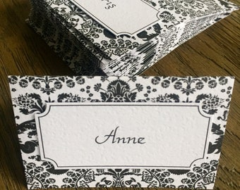 Stylish Black and White Patterned Place Cards
