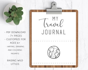 Travel Journal | Kids Activity Packet | Printable Worksheets