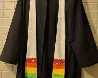 Easter Clergy Stole: White With Rainbow Patterned Fabric