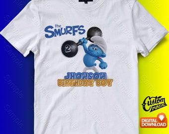 The Smurf Iron On Transfer, The Smurf Birthday Shirt DIY, The Smurf Shirt Designs, The Smurf, Personalize, Digital Files