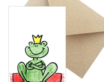 "Greeting Card birthday Gift ""Frog King"""