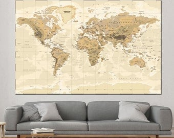 World map canvas etsy world map canvas world map poster world map print wall art custom world map large map gumiabroncs Image collections
