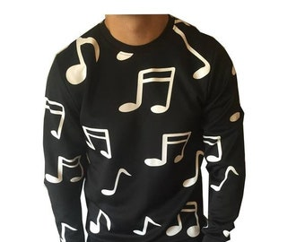 Music Notes Sweater - Mens Womens Musical Long Sleeve Shirt