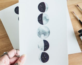 Moon Phases Print, Moon Phases, Lunar Phases print,