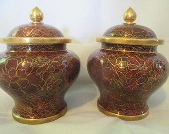 "Set of New Vintage 4.5"" Cloisonné Jingfa Enamel Brass Urns with Lid"