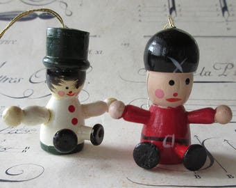 Germany Christmas Ornaments Vintage Wooden Wood German Seated Men Set Of 2
