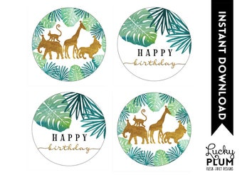 Safari Cupcake Toppers / Safari Round Labels Stickers / Animal Cupcake Toppers / Jungle Cupcake Toppers / Elephant Giraffe Lion SF01