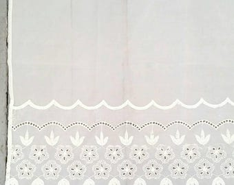 "Small White Embroidered sheer window curtain. Vintage White Lace Window Curtain. Sheer window curtain panel. White Cafe Curtain. 30 x 30""."