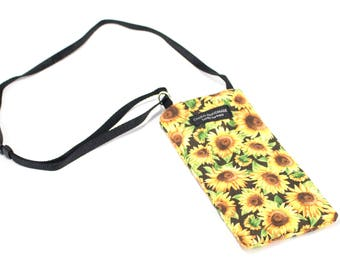 Sunflower fabric Eyeglass Reader Case -with adjustable neck strap lanyard