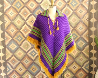 thick vintage knit poncho shawl . purple green & mustard hippie pullover . 60s 70s sweater poncho with fringe