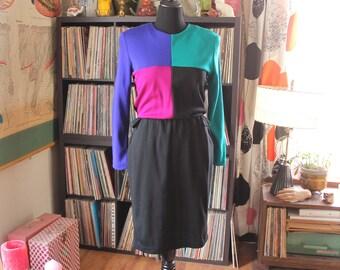 vintage 80s colorblock dress with pockets & belt . womens large xl . 1980s color block jersey knit dress, elastic waist