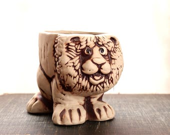 1970s vintage lion planter for small plants, cactus succulents . anthropomorphic animal planter