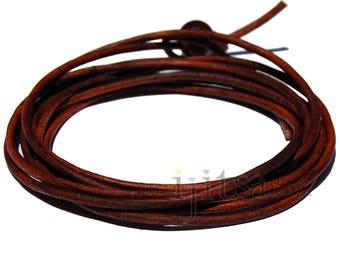 2mm Antique brown leather adjustable wrap bracelet