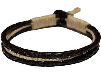 Braided Black leather & Natural hemp bracelet or anklet