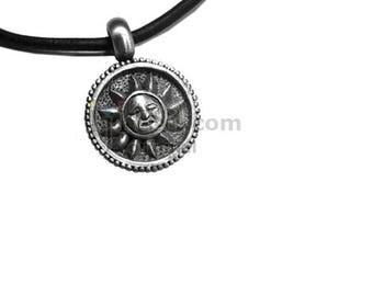 Adjustable leather cord necklace pewter Sun face design pendant