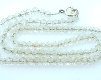 Art Deco Sterling Silver and Faceted Crystals Necklace Looks Like Tiny Ice Cubes