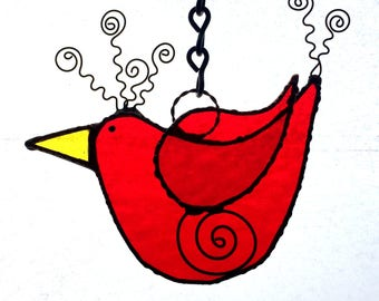 Stained Glass Whimsical Red Bird