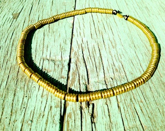 Necklace -- Choker necklace AIYA, golden pearls, striped, by The Sausage