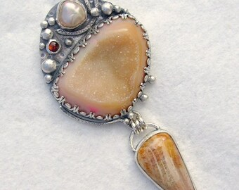 Chelle' Rawlsky STONE SOUP COLLECTION baroque pearl abalone dyed drusy fossil coral by Gary Wilson sterling silver pendant Chelle' Rawlsky