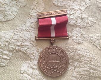 US Coast Guard Ribbon Medallion 1930s Heavy Brass Medal Pin Red & White Ribbon Semper Paratus Always Prepared