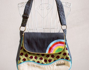 Olive Green Bag, Rainbow Bag, Rainbow Messenger Bag, Ladies Messenger Bag, Crossbody Bag Women, Fabric Crossbody Bag, Apples Fabric