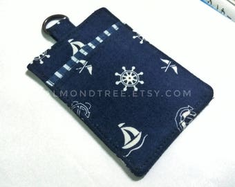 Sailing, navy blue,  women wallet, credit id work card case , moneystash , id171106 front pocket, gift ideas, teacher, slim card, minimal