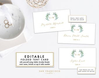 Place Card Template | PRINTABLE Name Cards or Food Tent Card, Escort Card | Green, Gold, Eucalyptus Collection - Instant Download - PDF File
