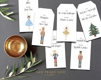 Editable Nutcracker Gift Tags, Nutcracker Hang Tags, Favor Tags, Hangtags, Printable, DIY, Christmas, Holiday, Instant Download PDF File