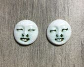 Pair of Two Medium Round Ceramic Face Stone Cabochons in Pewter and Shiny Bone White