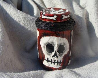 Reserved for Wendie Vodou inspired Skull And Bones Stash/Altar Jar Papier Mache